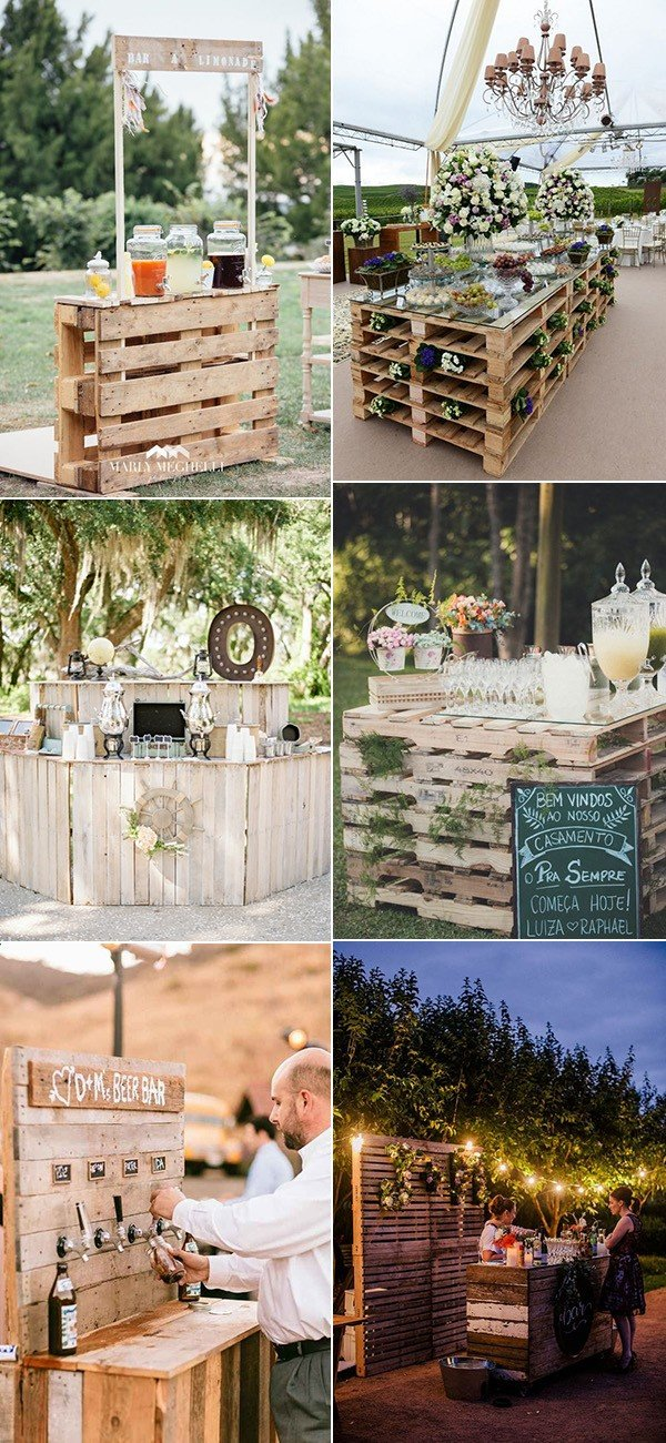 outdoor wedding food and drink station ideas with wood pallets