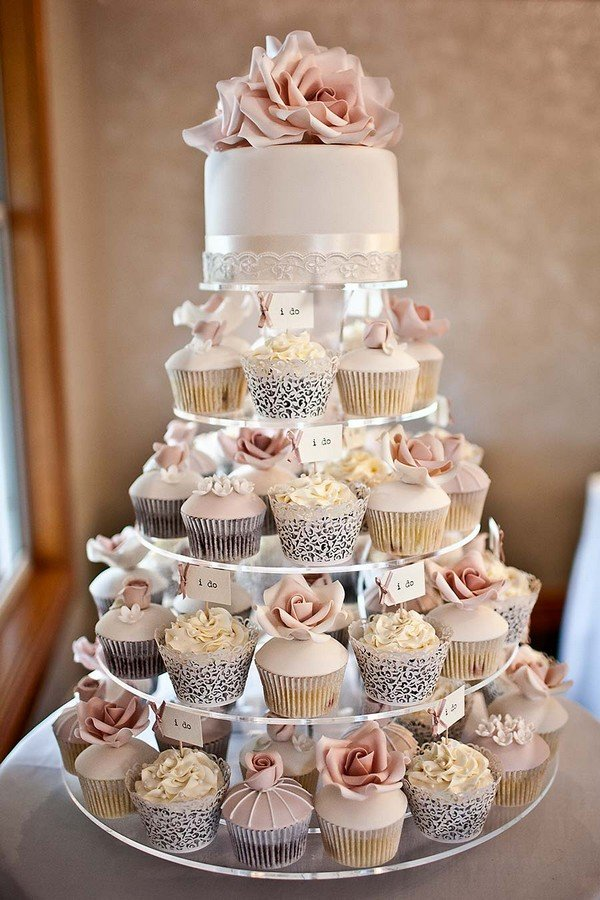 pink and grey wedding cupcakes with i do