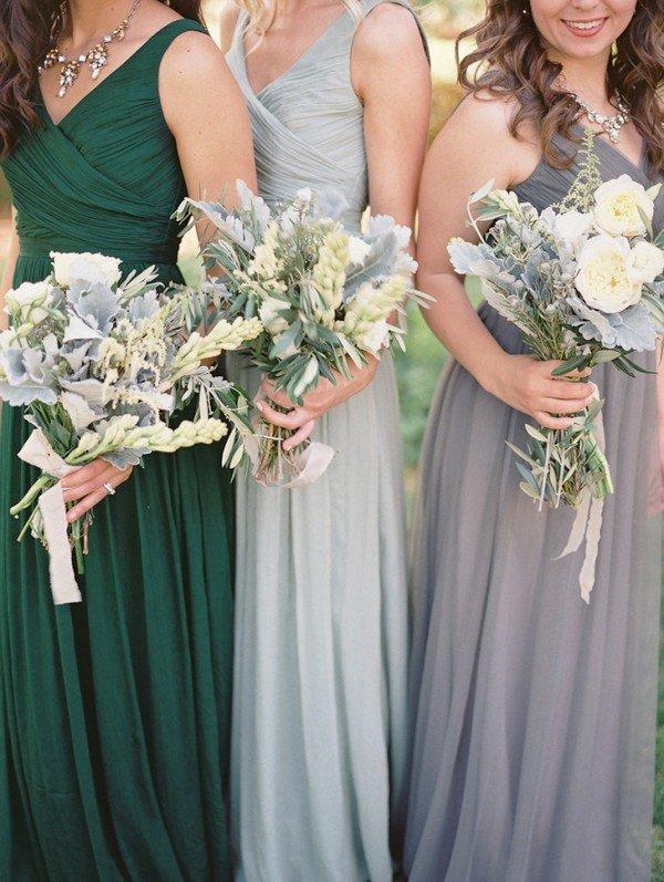 shades of green and grey bridesmaid dresses