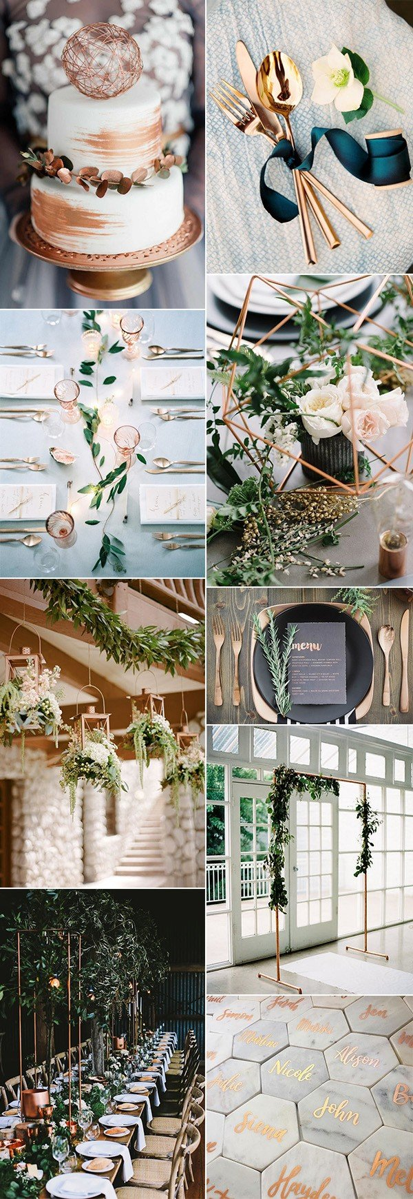 trending metallic copper wedding color ideas