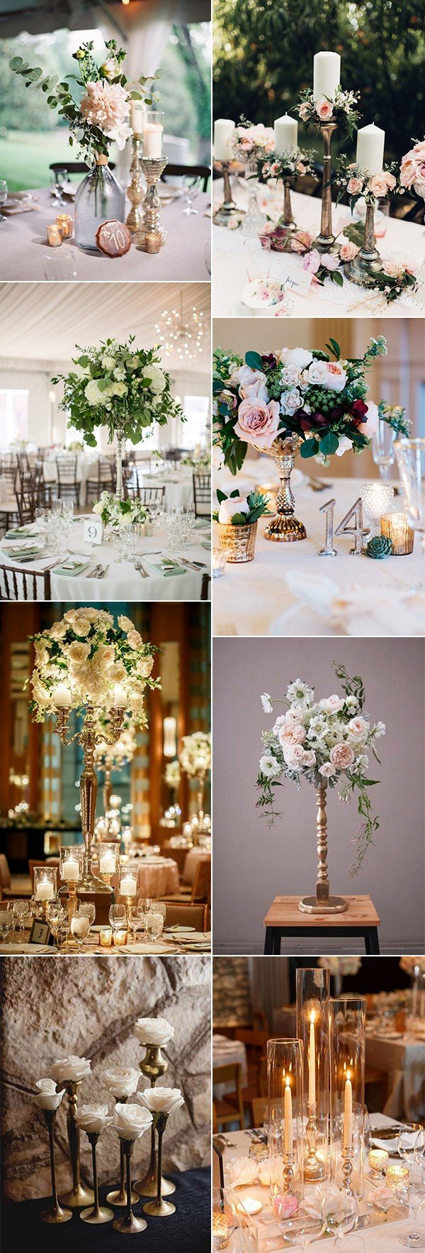 trending wedding centerpieces with candlesticks