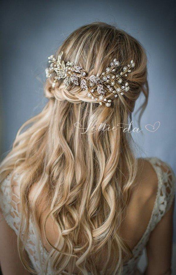 vintage half up half down wedding hairstyle with headpieces