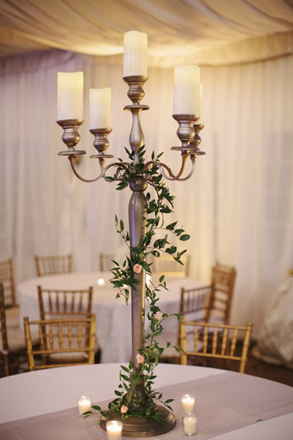 vintage wedding centerpiece with candles