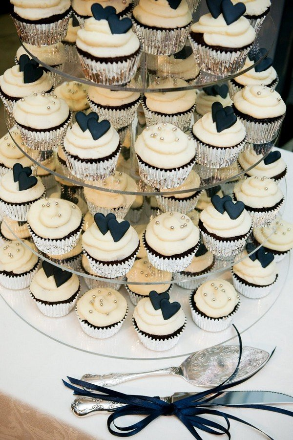 vintage white and black wedding cupcake tower ideas