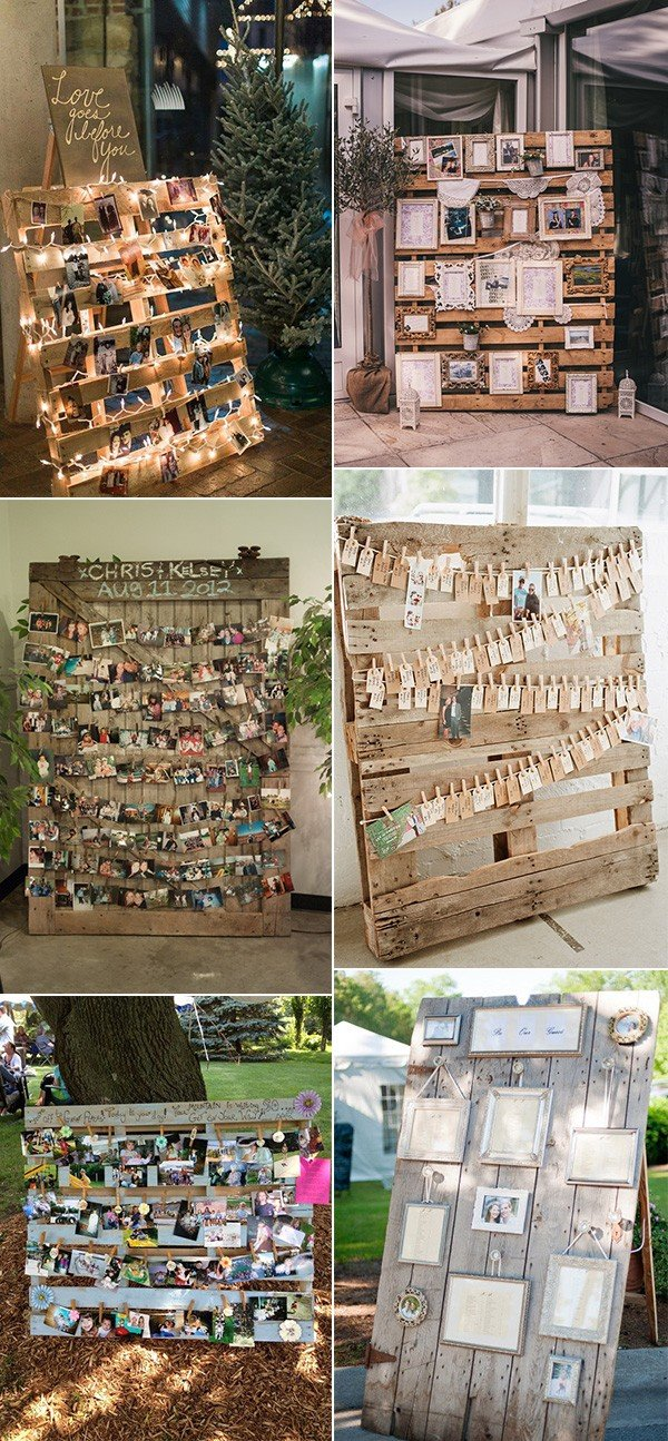 wedding photo display ideas with wood pallet for country weddings