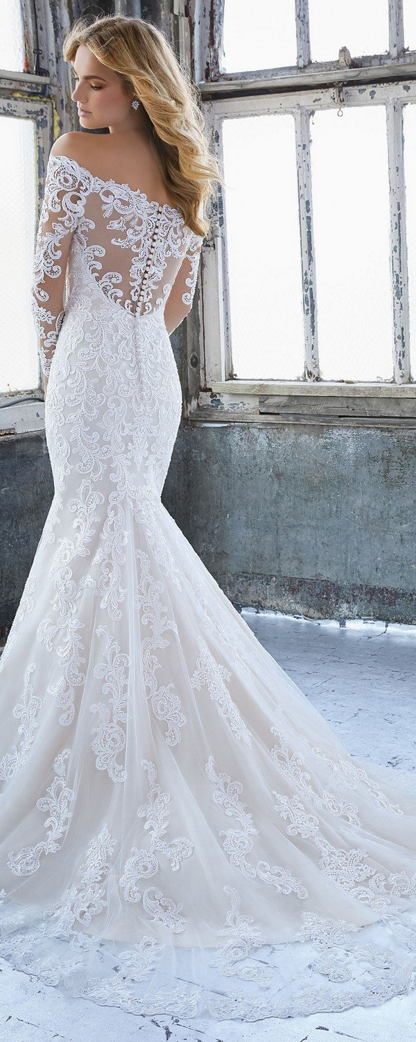 Karlee off the shoulder lace wedding dress Morilee 2018 back view