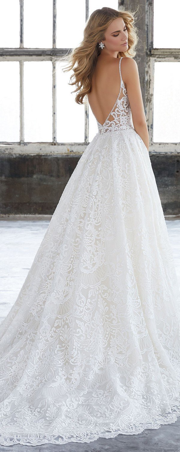 Kasey vintage a line Morilee wedding dress 2018 back details