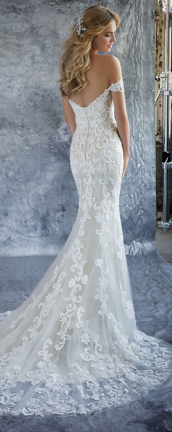 Kassia off the shoulder wedding dress back Morille 2018