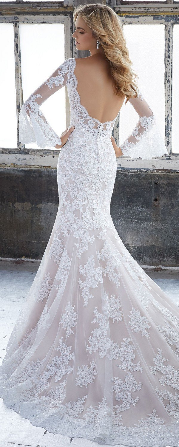 Kendall Morilee low back wedding dress with long lace sleeves