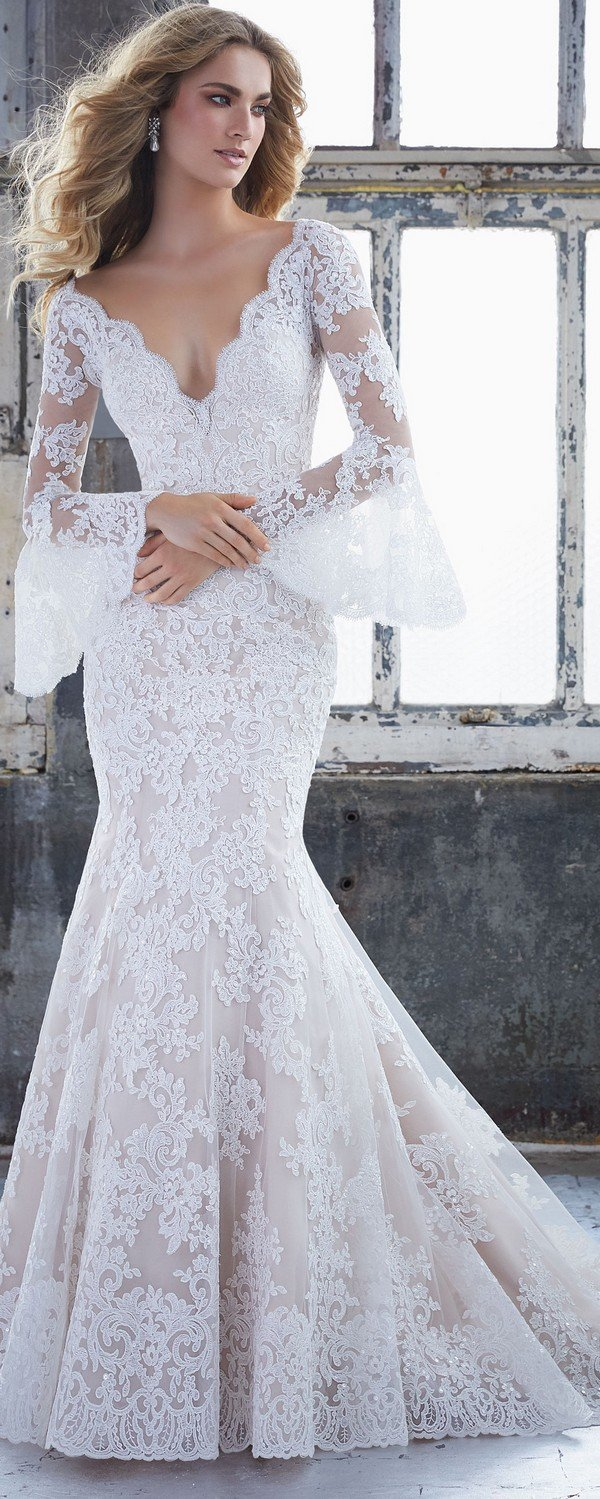 Kendall Morilee wedding dress with long lace sleeves