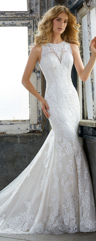 Krista elegant lace wedding dress from Morilee 2018