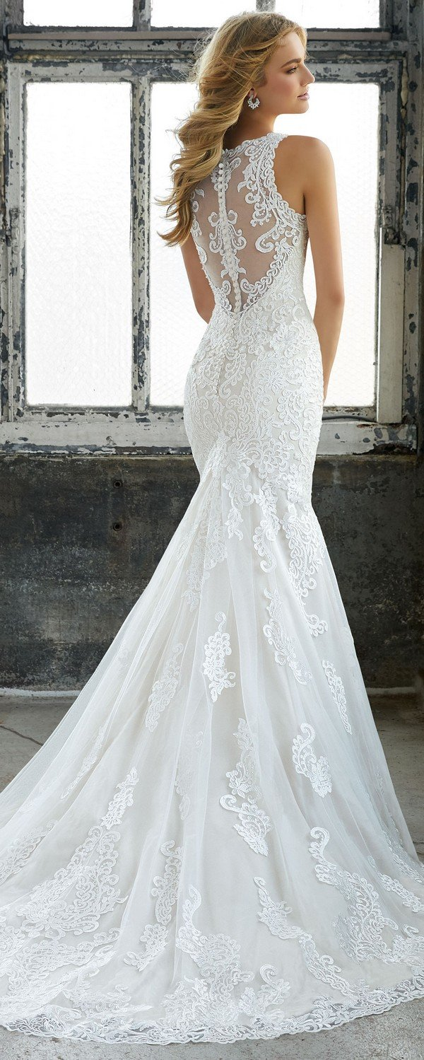 Krista illusion back elegant lace wedding dress from Morilee 2018 - beach decorations for wedding