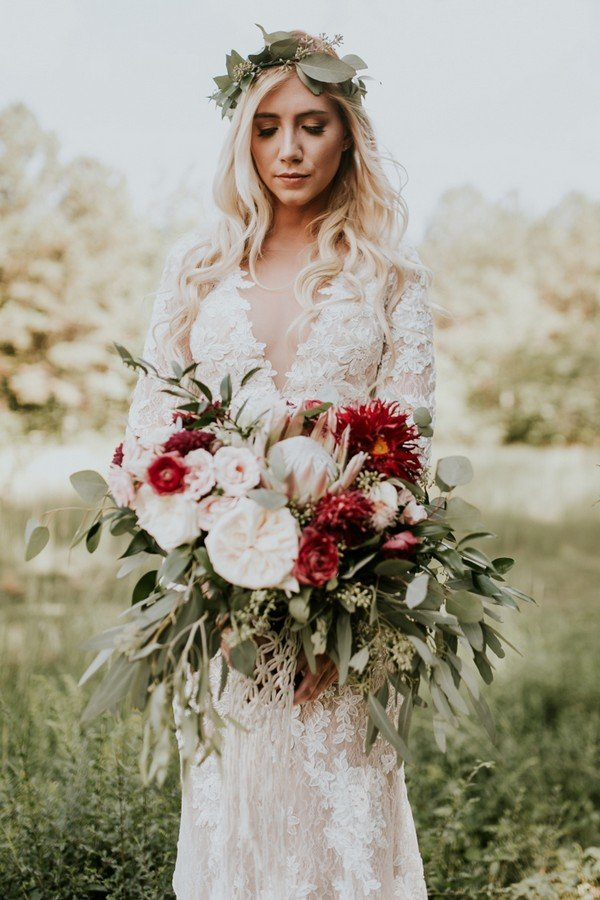 boho wedding dress with bouquet