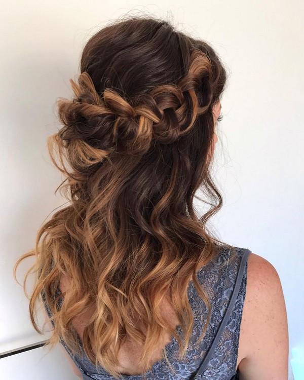 braided half up half down wedding hairstyle