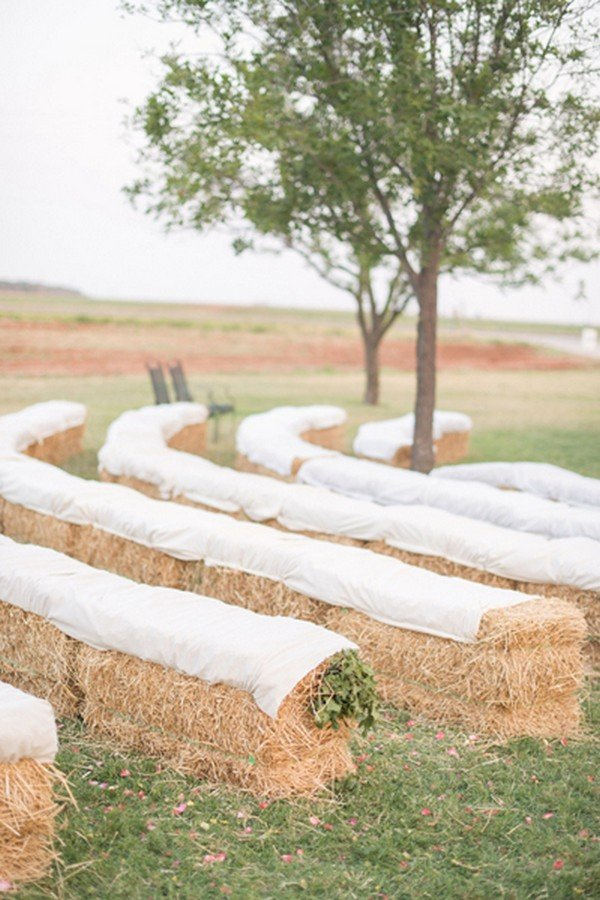 country farm wedding ceremony seating decoration ideas