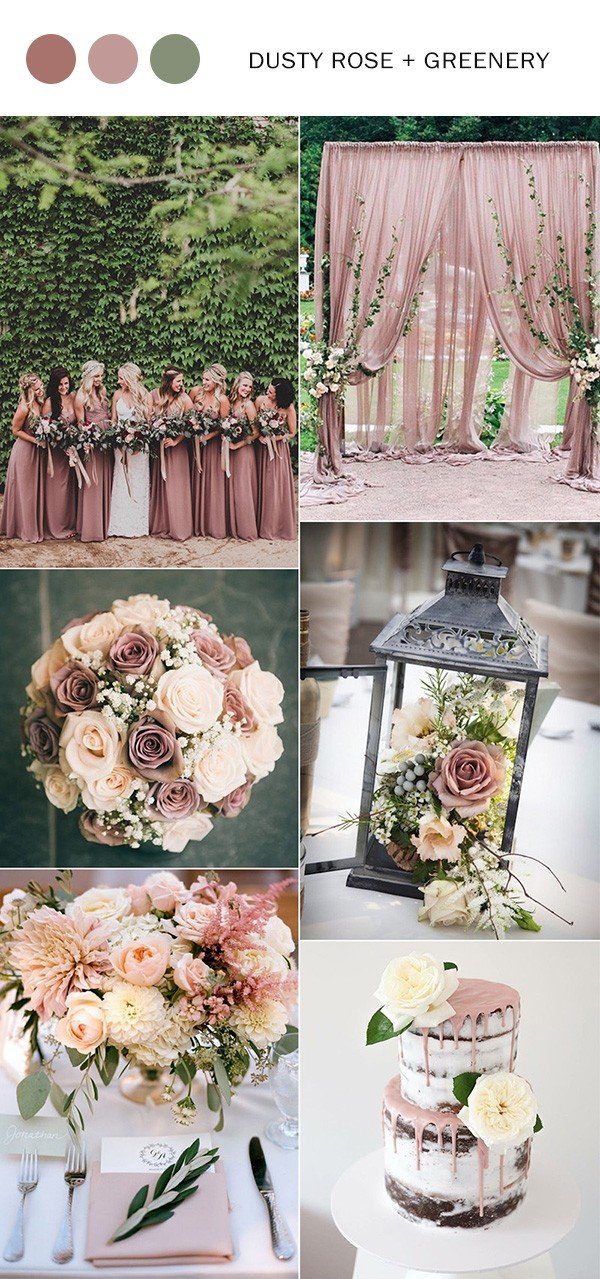 Top 10 wedding color ideas for 2018 trends oh best day ever dusty rose and greenery wedding color ideas 2018 junglespirit Image collections