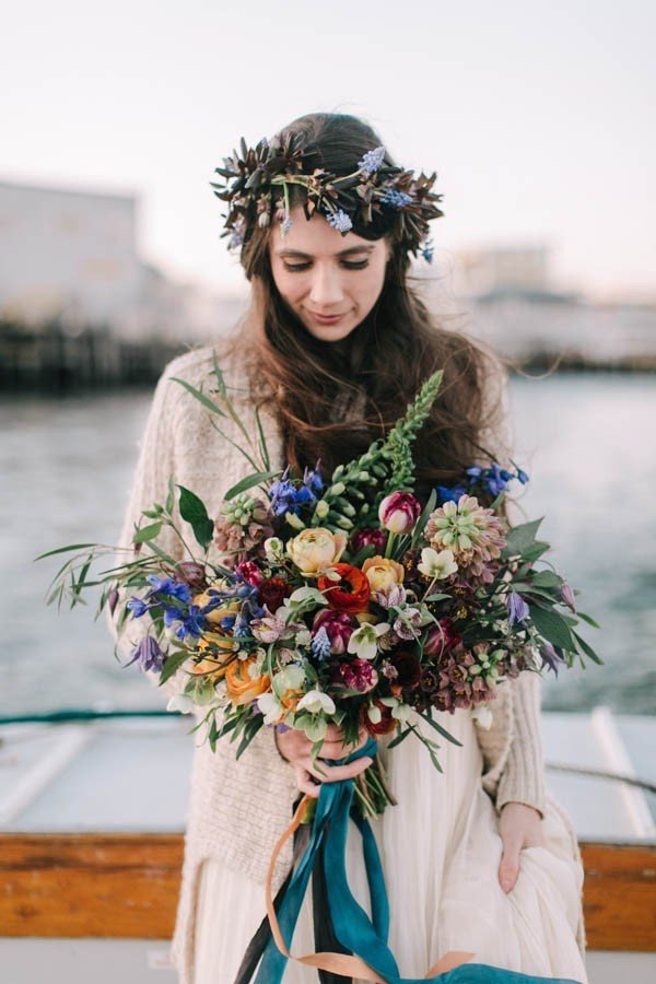 fall wedding bouquet ideas for bohemian wedding