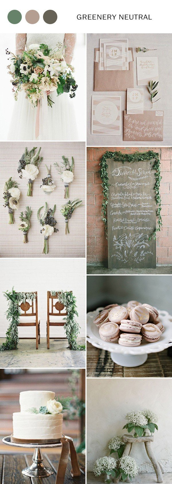green and brown neutral wedding color ideas 2018