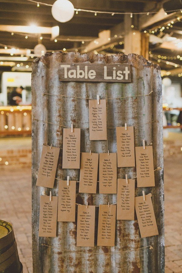 craft paper seating chart display ideas for rustic farm wedding