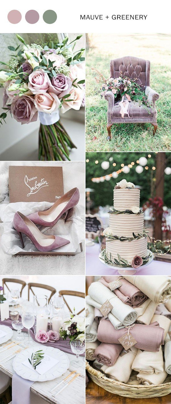 mauve and greenery elegant wedding color ideas for 2018