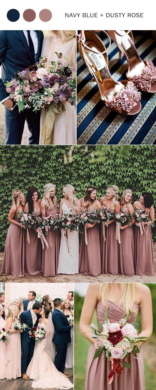 Top 10 wedding color ideas for 2018 trends oh best day ever navy blue and dusty rose wedding color ideas for 2018 trends junglespirit Image collections