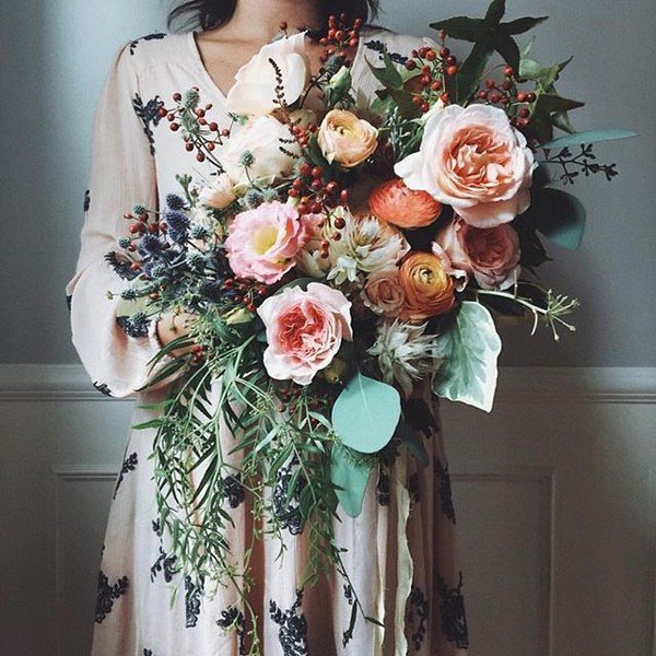 peach toned boho wedding bouquet