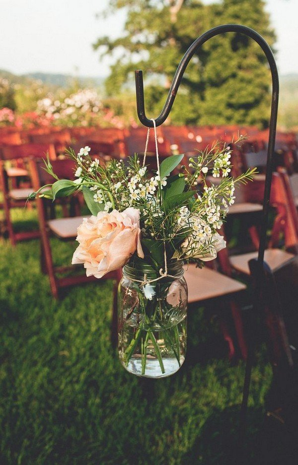 rustic wedding ceremony decoration ideas with mason jars