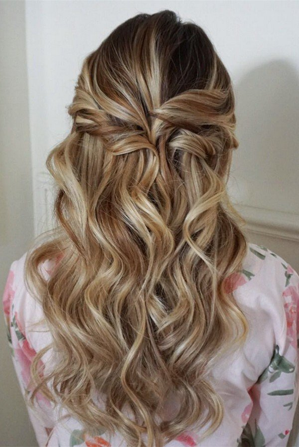 swept back half up half down wedding hairstyles