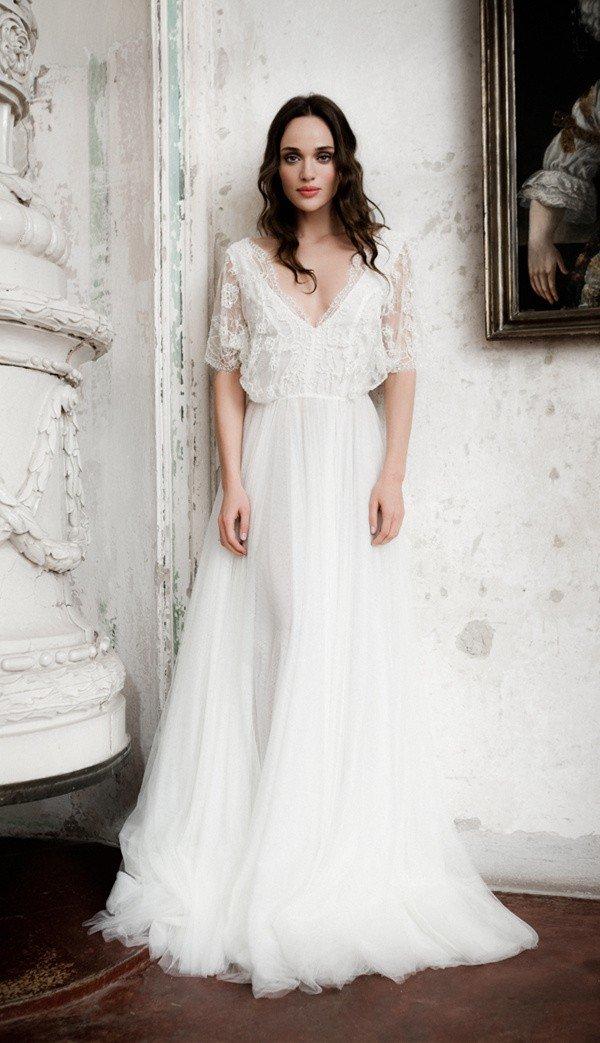 Daalarna vintage v neck wedding dress with sleeves
