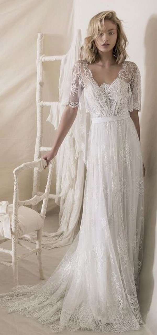 Lihi hod vintage wedding dress with lace