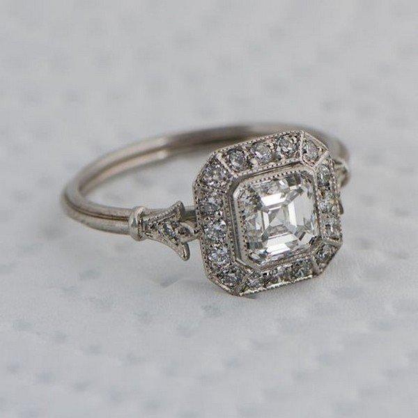 Vintage Asscher Cut Diamond wedding engagement ring