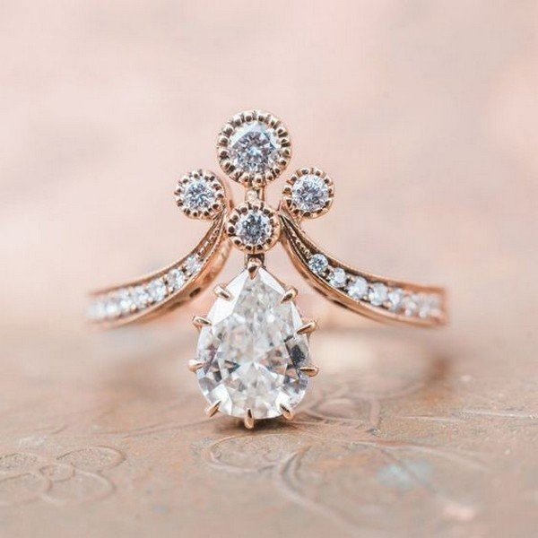 Vintage-inspired rose gold Tiara engagement ring
