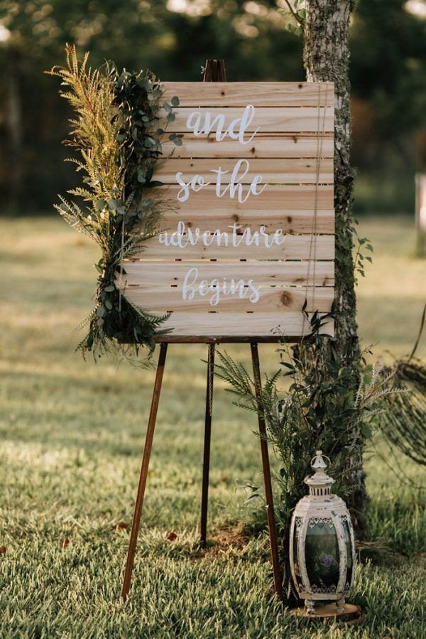 boho greenery wooden wedding sign ideas