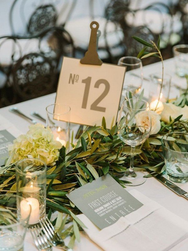 chic greenery and gold industrial wedding centerpiece ideas