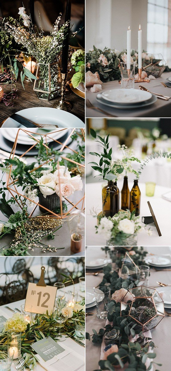 chic greenery industrial wedding centerpiece ideas for 2018