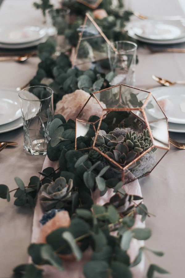 copper and greenery industrial wedding centerpiece ideas