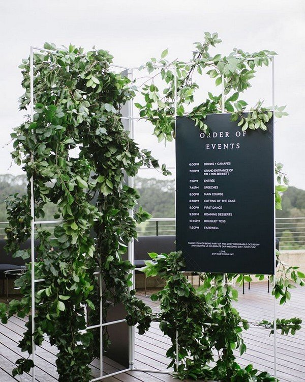 creative wedding sign decorated with greenery