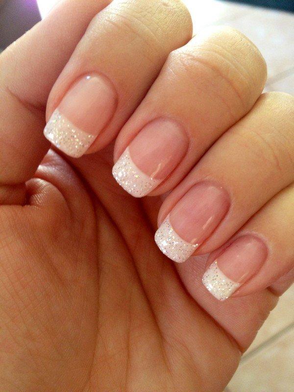 elegant glitter wedding nail design