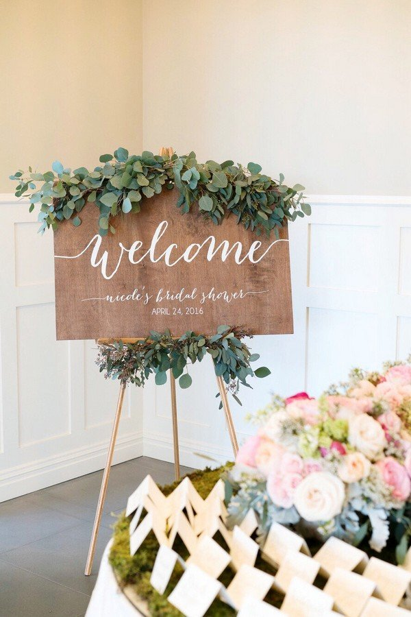 15 chic greenery wedding signs for 2018 trends oh best for How to decorate for a bridal shower at home