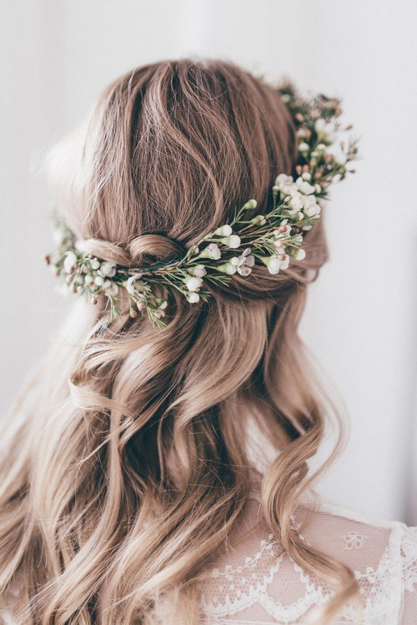 half up half down wedding hairstyles with flower crown for medium hair