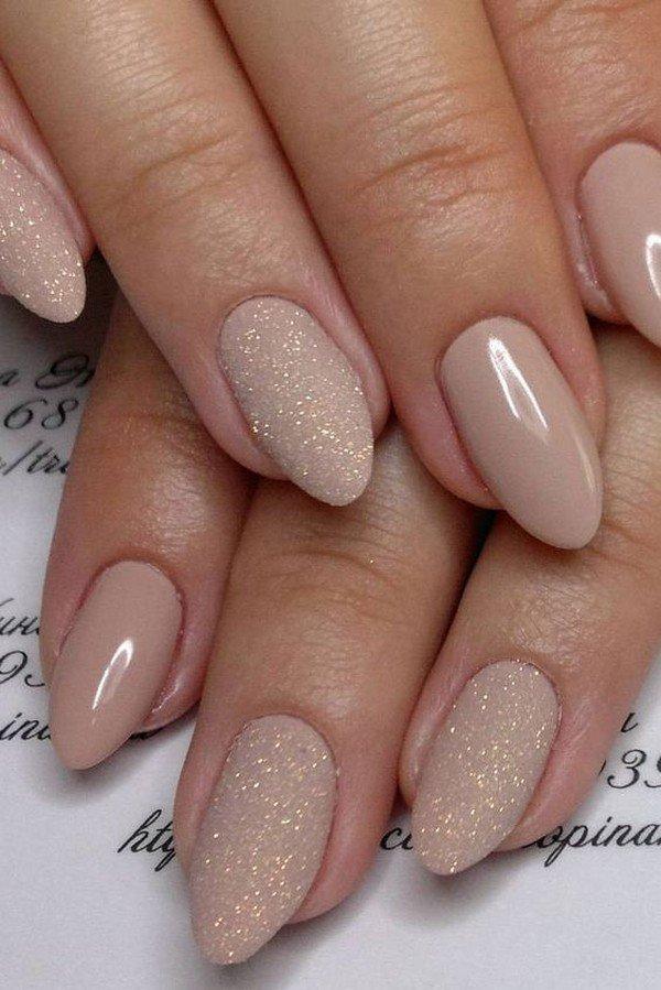 neutral glitter bridal nail designs