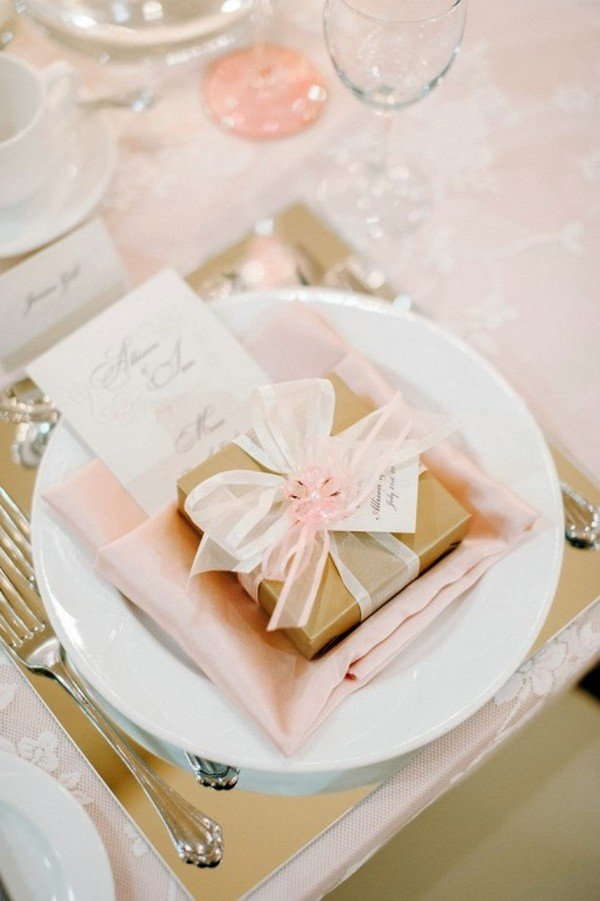 pink and gold wedding table setting ideas