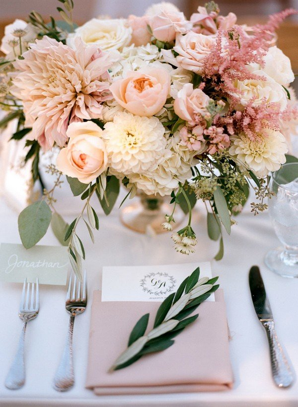 pink elegant wedding table setting ideas