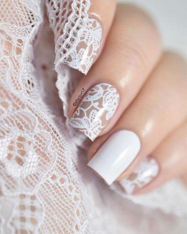 pretty lace wedding nail ideas