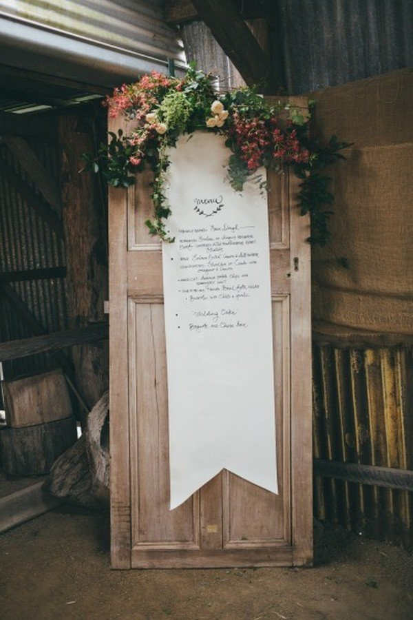 shabby chic wedding sign ideas with old door