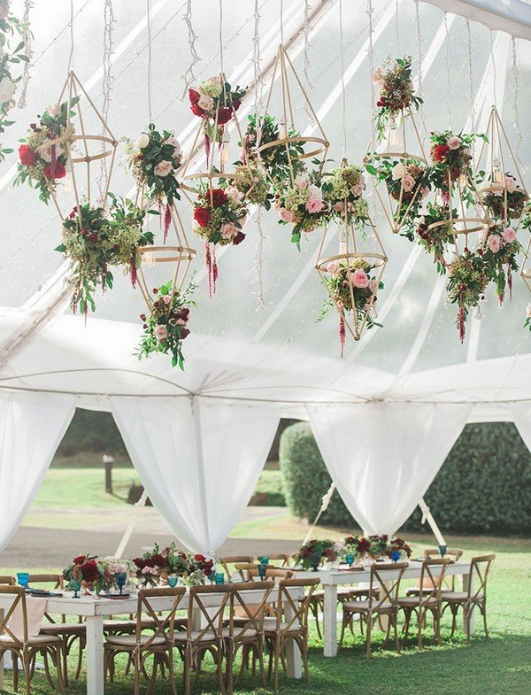 suspended floral geo shapes ceiling ideas for tented wedding ideas