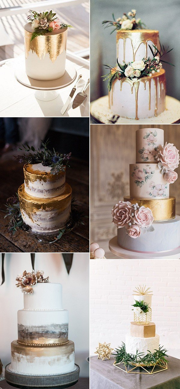 Trending Metallic Gold Wedding Cake Ideas For 2018