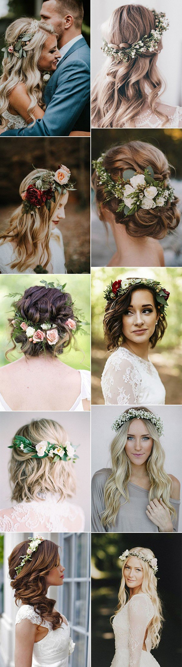 trending wedding hairstyles with flower crowns for 2018