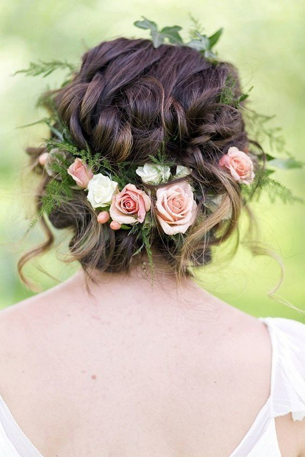 updo wedding hairstyle ideas with flower crown