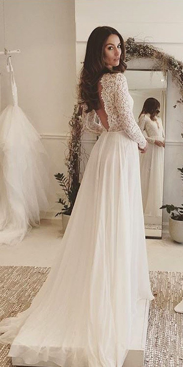 v back a line wedding dress with long lace sleeves from Daalarna